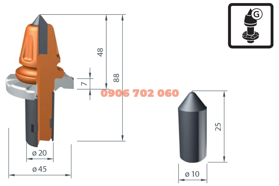 Răng cào Wirtgen W1-10-G /20X²