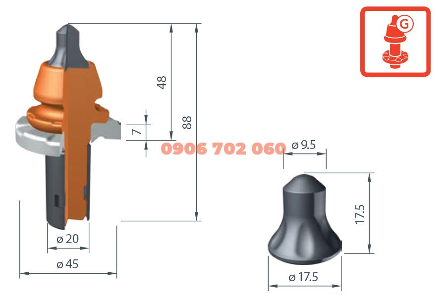 Răng cào Wirtgen W5-G /20X²