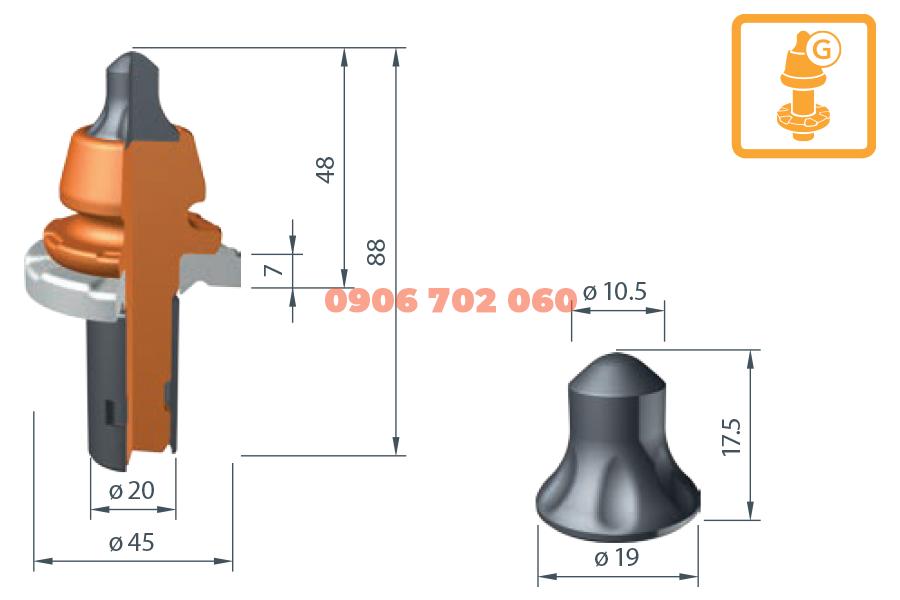 Răng cào Wirtgen W6-G /20X²