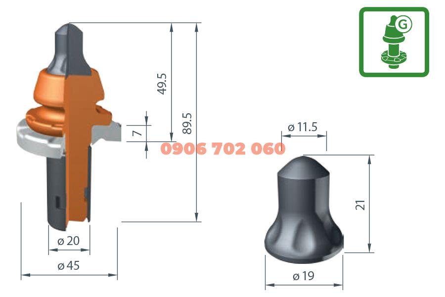 Răng cào Wirtgen W6ML-G /20X²
