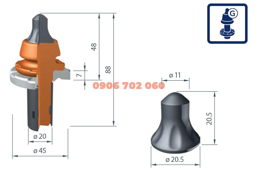 Răng cào Wirtgen W7-G /20X²